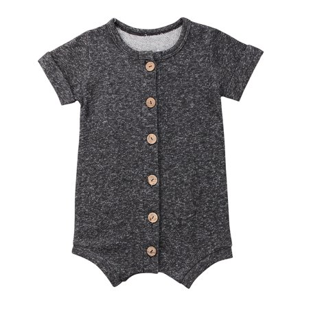 - Infant Baby Toddler Boys Girls Short Sleeve Button Down Bodysuit Romper Outfits