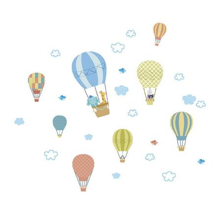 Fancyleo 2 Pcs Cartoon Baby Bedroom Children Room Ornament Wall Sticker Cute Little Animal White Cloud Hot Air Balloon