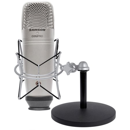 Samson C01U Pro Recording Podcast Microphone+Shock Mount+Weighted Mic Stand