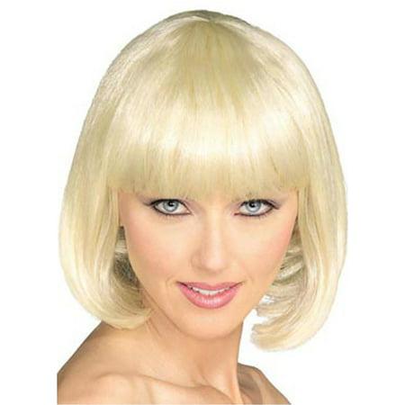 Adult Blonde Short Strait Bob Super Model Costume - Short Finger Wave Wig