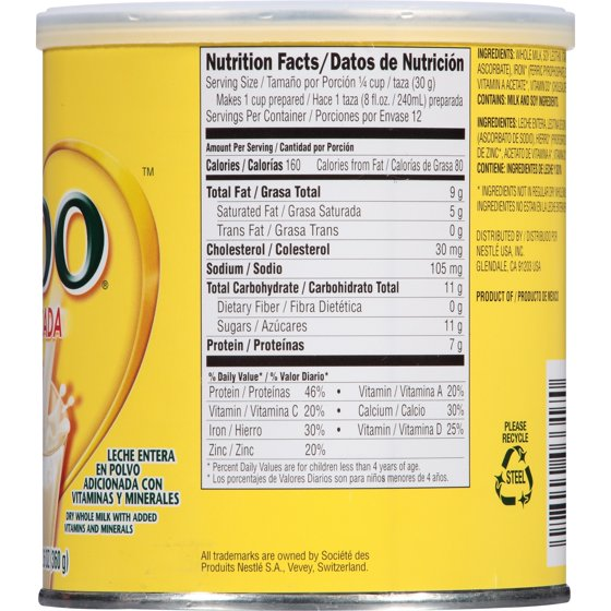Nido 1 Plus Nutrition Facts