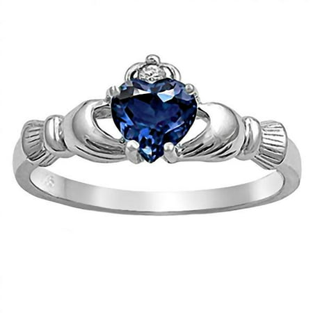 Corrine: 0.765ct Heart cut Created Blue Sapphire Claddagh Ring Sterling Silver sz 10.5