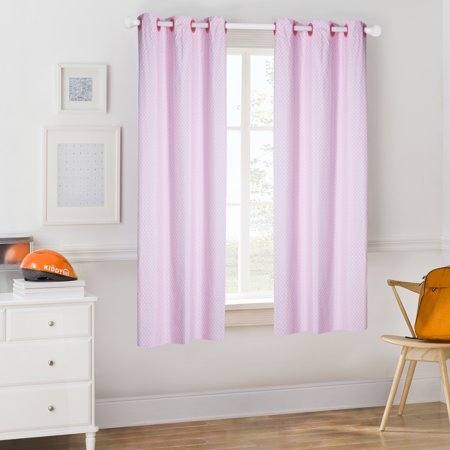 Light Pink Woven Polyester (Mainstays Kids Light Pink Polka Dot Room Darkening Coordinating Window)