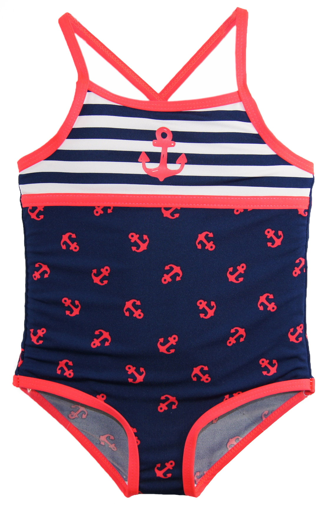 49975a19d9 Wippette Baby Girls Anchor Once Piece Swimsuit Beach Terry Dress Cover Up  Set - Walmart.com