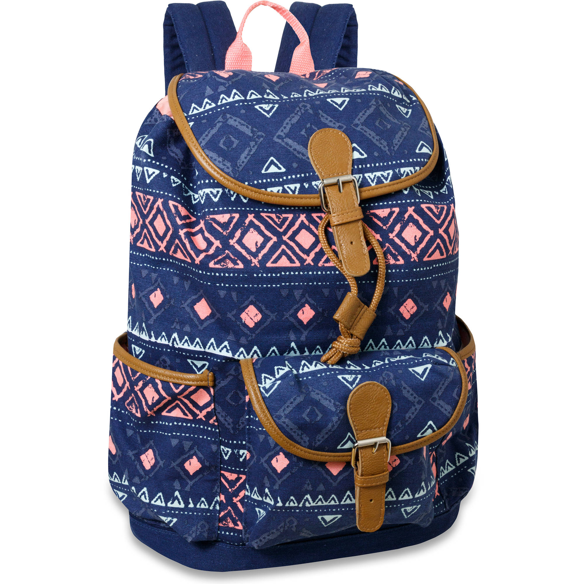 17 Inch Cotton Canvas  Triple Pocket Drawstring Flap Backpack