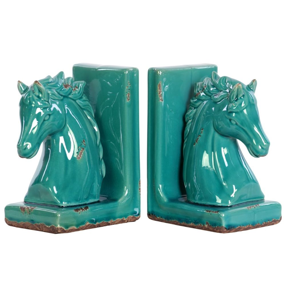 Stoneware Horse Bookend Assortment - Turquoise