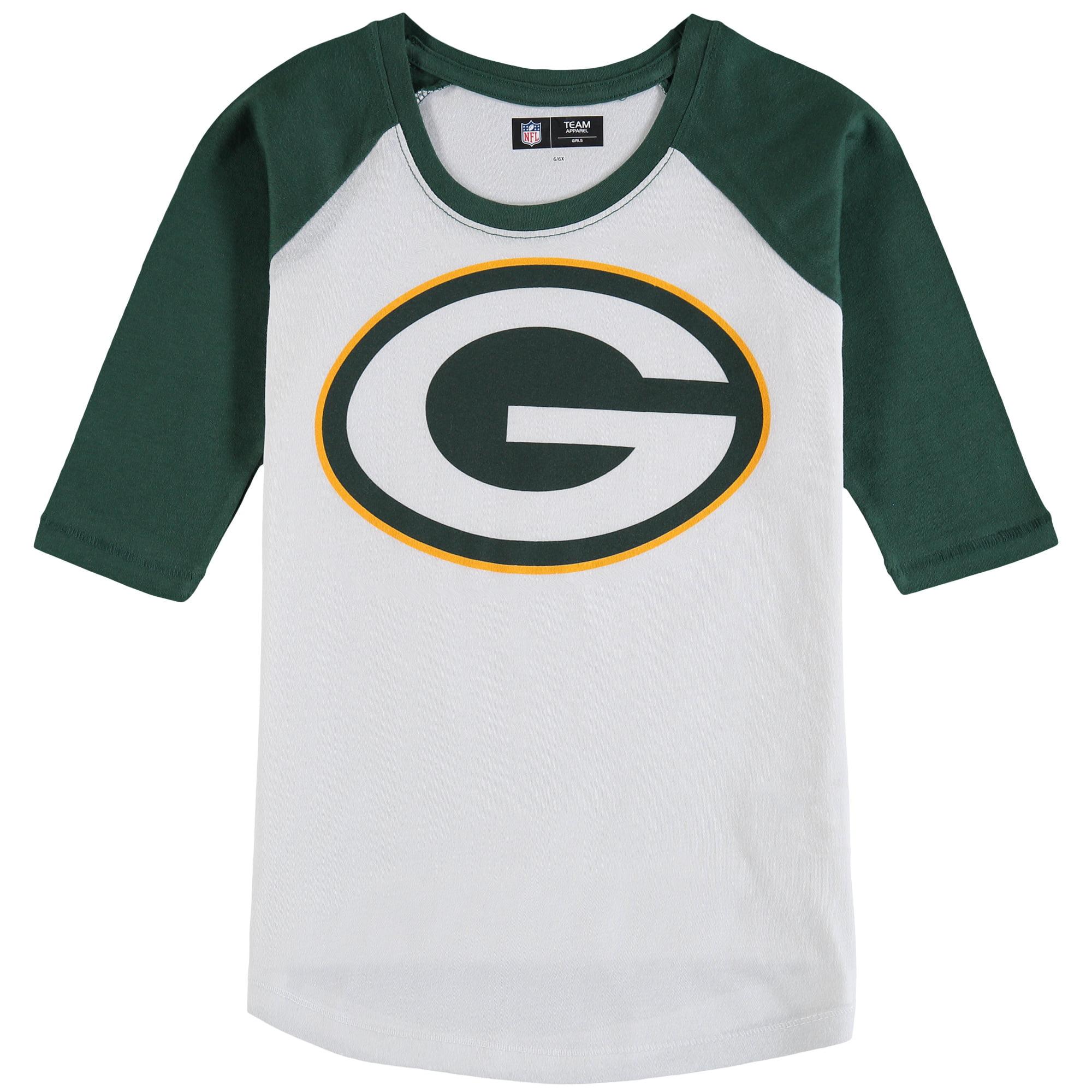 Green Bay Packers 5th & Ocean by New Era Girls Youth 3/4-Sleeve Raglan T-Shirt - White/Green