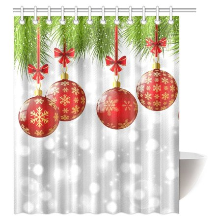 MYPOP Christmas Decorations Shower Curtain, Xmas Inspired Winter Season Theme Fir Twigs and Vibrant Balls Decor Graphic Print Fabric Bathroom Shower Curtain Set with Hooks, 60x72 Inches - Winter Ball Theme Ideas