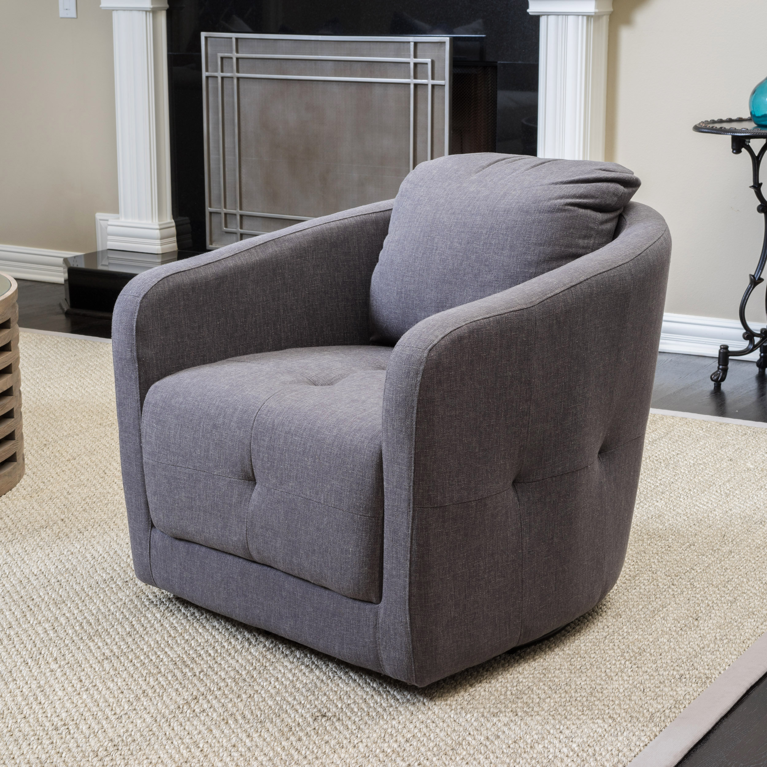 Noble House Claudia Charcoal Ash Swivel Chair