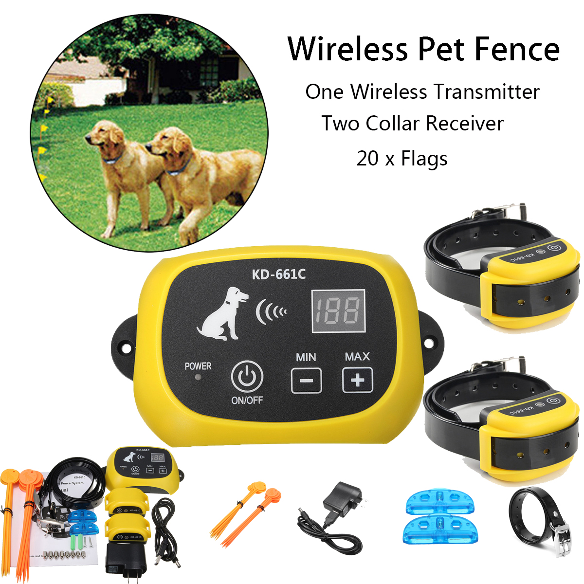 Wireless Pet 2 Dogs Fence Remote Training Containment Sys...