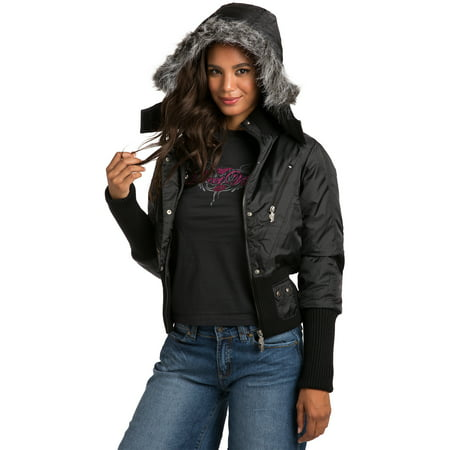 Sweet Vibes Junior Womens Black Puffy Down Jacket with luxurious faux fur