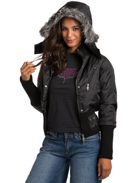 76418492a6c Product Image Sweet Vibes Junior Womens Black Puffy Down Jacket with  luxurious faux fur Hood