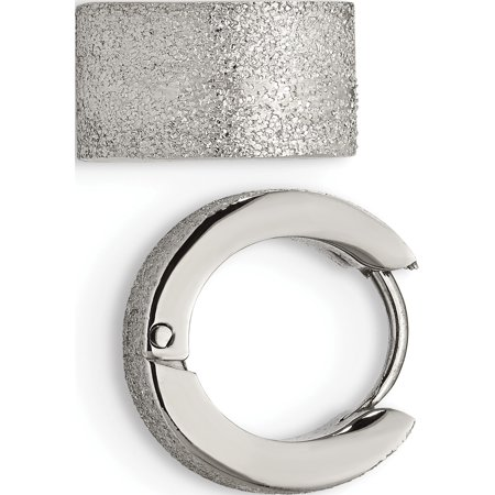 Stainless Steel Polished and Sand Blasted 7.0mm Hinged Hoop Earrings (13x13) - image 3 of 3