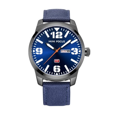 Mens Quartz Watch Blue Dial Nylon Ribbon Strap Calendar window Week Sport for Friends Lovers Best Holiday Gift
