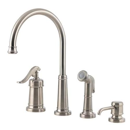 Ashfield Kitchen - Pfister Ashfield Kitchen Faucet LG26-4YPK Brushed Nickel With SoapDispenser With Sidespray
