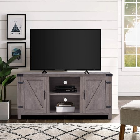 Wooden TV Stand, Rustic Farmhouse Universal Stand for Flat Screen, Home Living Room Storage Console Entertainment Center, TV Stand for 65 Inch TV, Apartment Corner TV Stand, 58 Inch, Oak Color, W9265 Home Entertainment Tv Stand
