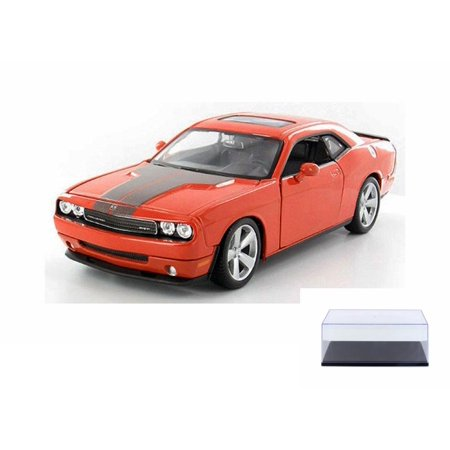 Challenger Hardtop - Diecast Car & Display Case Package - 2008 Dodge Challenger SRT8 Hard Top w/ Sunroof, Orange - Maisto 31280OR - 1/24 Scale Diecast Model Toy Car w/Display Case