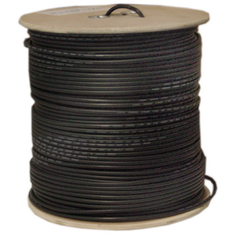 CableWholesale 10X3-18222NF Bulk RG59 Siamese Coaxial/Power Cable, Black, Solid Core (Copper) Coax, 18/2 (18 AWG 2 Conductor) Stranded Copper Power, Spool, 500 foot