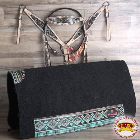 HILASON WESTERN LEATHER HORSE HEADSTALL BREAST COLLAR SADDLE BLANKET SET AZTEC