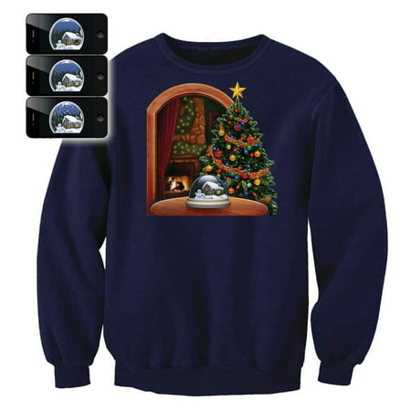 Digital Dudz Adult Moving Snow Globe Ugly Christmas Sweater, Blue (Digital Dudz Christmas)