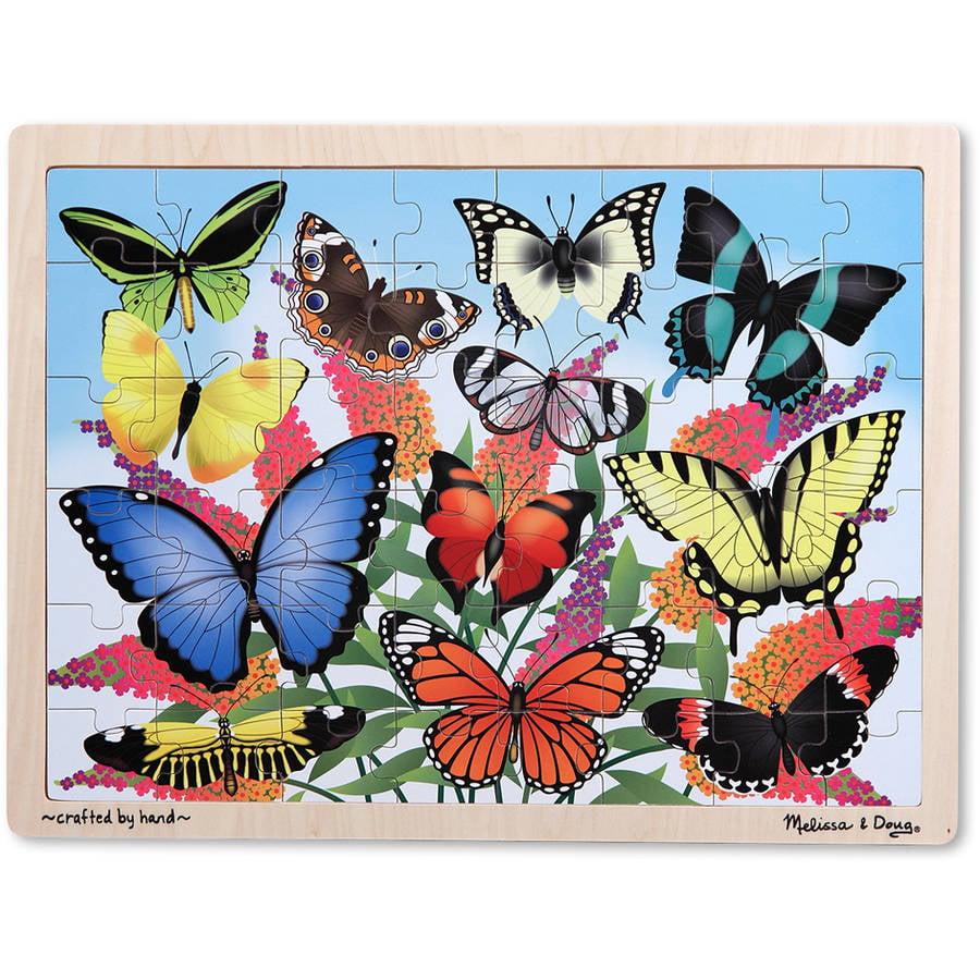 Melissa & Doug Butterfly Garden Wooden Jigsaw Puzzle, 48pc