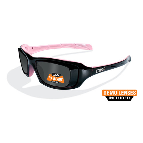 DVX Ion Rx-able Sun + Safety Sunglasses, Gloss Black (Pink Inside)
