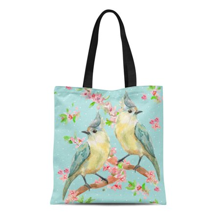 JSDART Canvas Tote Bag Blue Cute Lovely Birds on Flowering Twigs Watercolor Painting Reusable Shoulder Grocery Shopping Bags Handbag - image 1 of 1