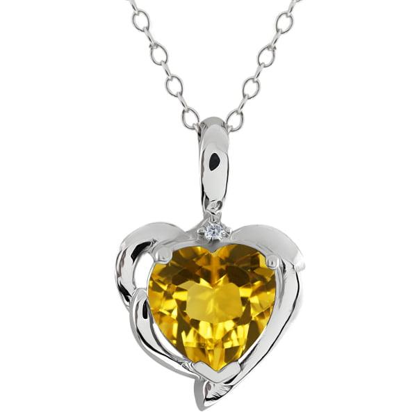 1.62 Ct Heart Shape Yellow Citrine White Diamond 925 Sterling Silver Pendant