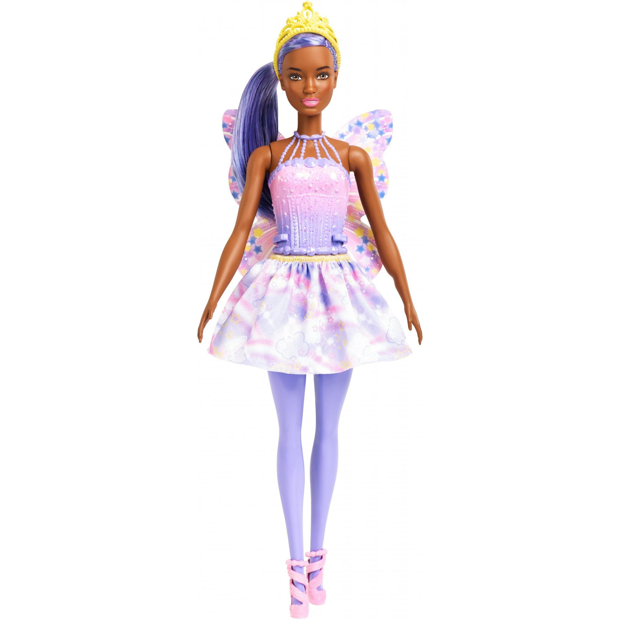 Barbie Dreamtopia Fairy Doll, Purple Hair & Star-Decorated Wings by Mattel