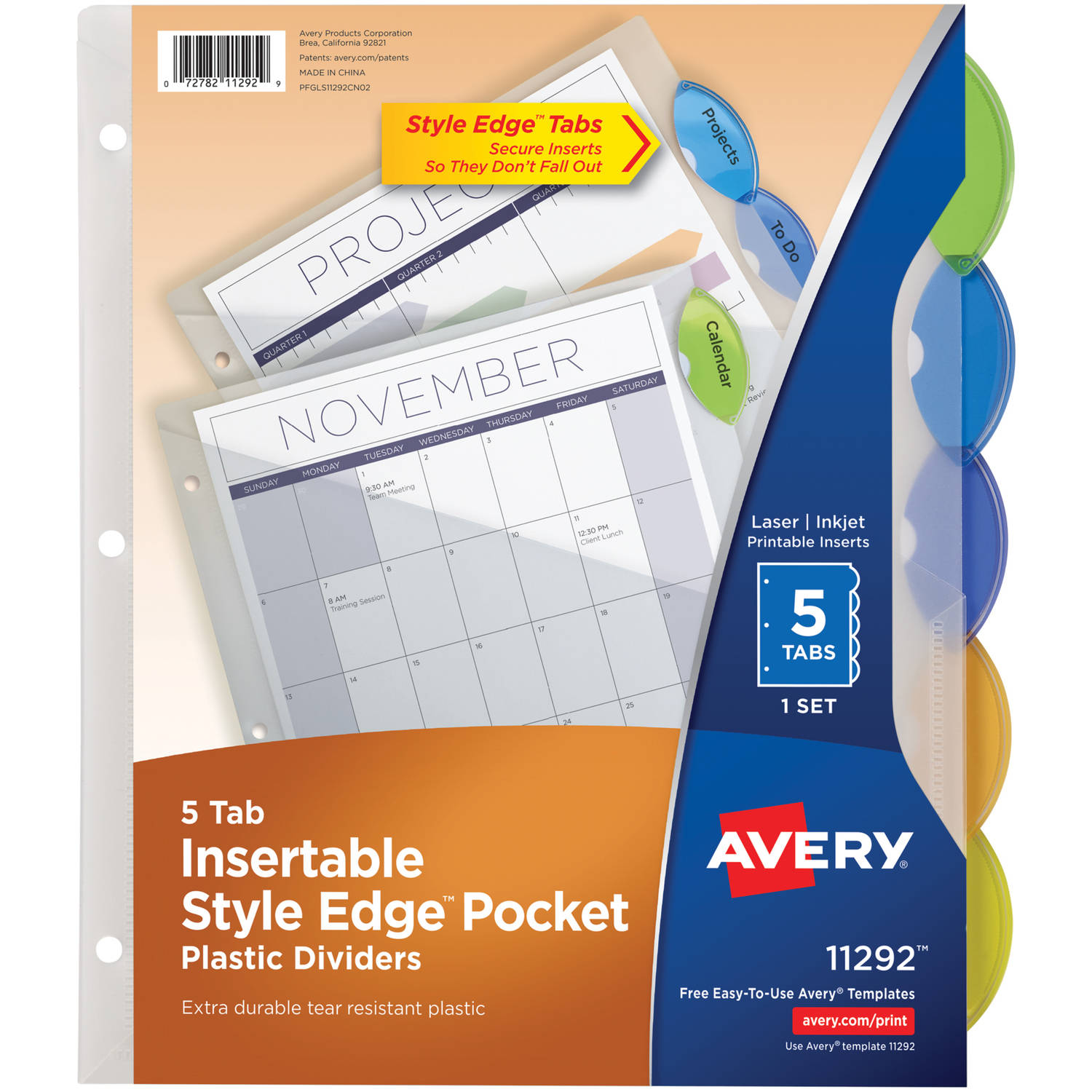 Avery Insertable Style Edge Plastic Dividers with Pockets 11292, 5 Multicolor Tabs, 1 Set