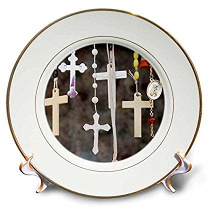 3dRose Crosses, rosaries, Christianity, New Mexico - US32 JMR0200 - Julien McRoberts, Porcelain Plate, 8-inch