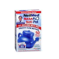 NeilMed NasaFlo Unbreakable Neti Pot with 50 Premixed -