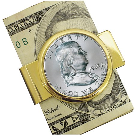 Franklin Silver Half Dollar Goldtone Coin Money Clip