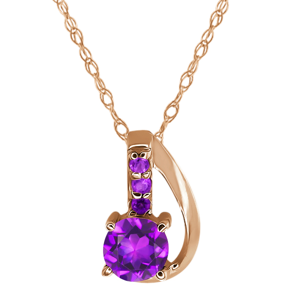 0.39 Ct Round Natural and Simulated Amethyst Gold Plated 925 Silver Pendant