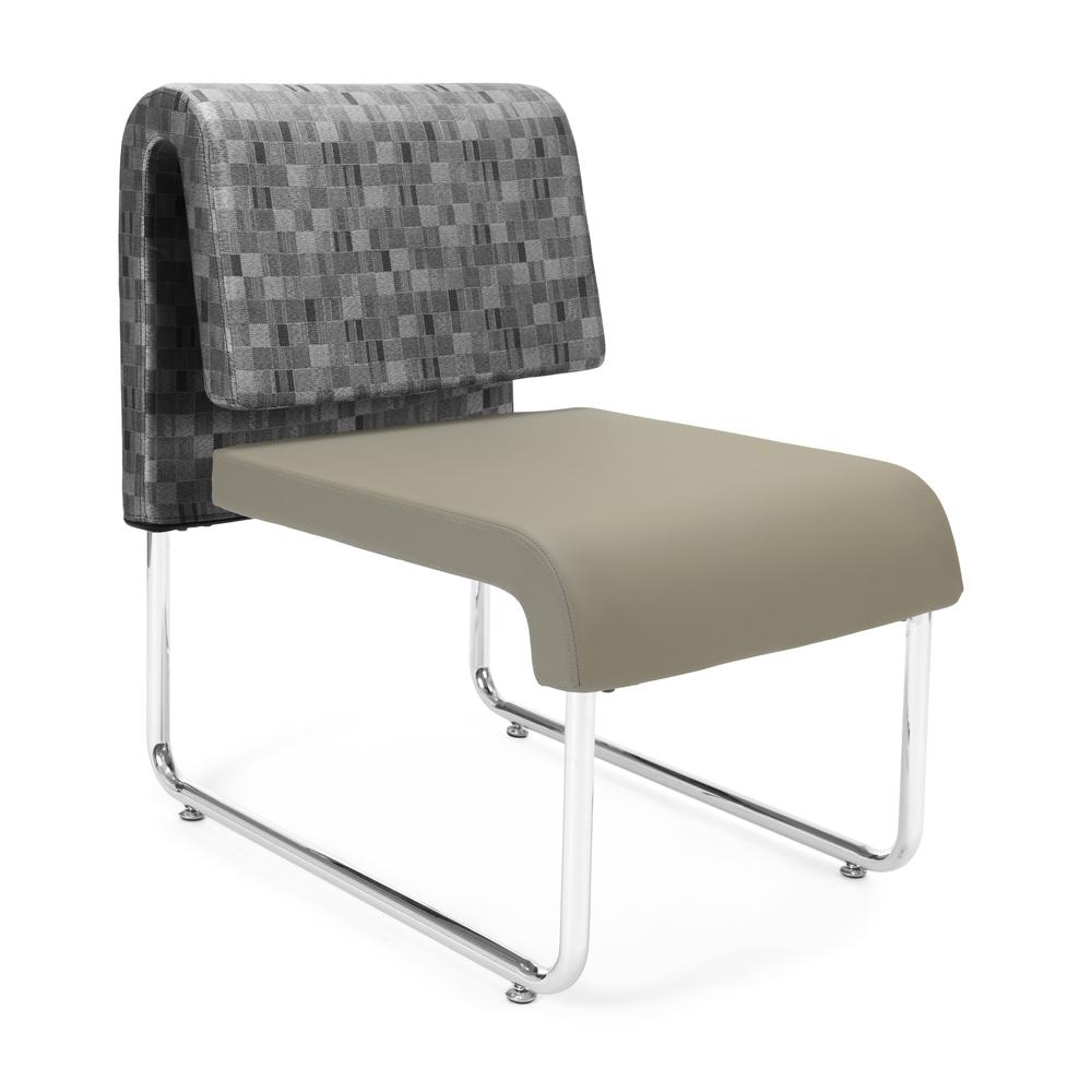 OFM Uno Lounge Chair in Nickel and Taupe (Set of 2)