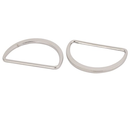 55mm Inner Width Zinc Alloy Flat Type Half Round Welded D Ring Sliver Tone 2pcs - image 1 of 2