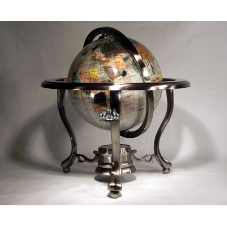 Unique Art 10-Inch Tall Table Top Pearl Swirl Ocean Gemstone World Globe with Silver Tripod - Mother Of Pearl Globe