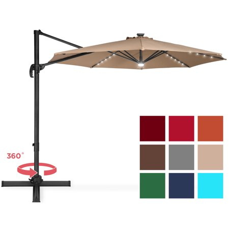 Best Choice Products 10ft Solar LED 360 Degree Cantilever Offset Market Patio Umbrella Shade for Deck, Garden, Poolside w/ Easy Tilt, Smooth Gliding Handle -