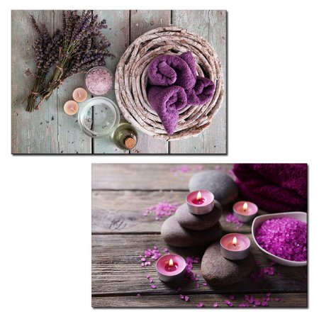 - wall26 - 2 Panel Canvas Wall Art - Spa Still Life with Bath Salts and Towels - Giclee Print Gallery Wrap Modern Home Decor Ready to Hang - 16