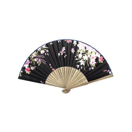 Unique Bargains Flower Pattern Bamboo Ribs Folding Hand Fan Beige Black](Folding Hand Fan)