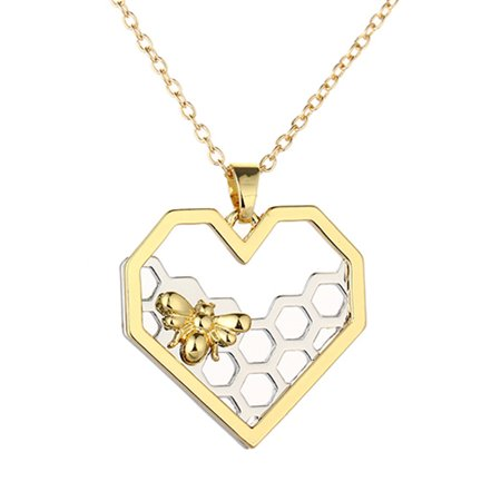 Women Heart Gold Pleaded Honeycomb Honey Bee Pendant Necklace Tarnish Resistant Jewelry HONEYBEE (Queen Bee Necklace)