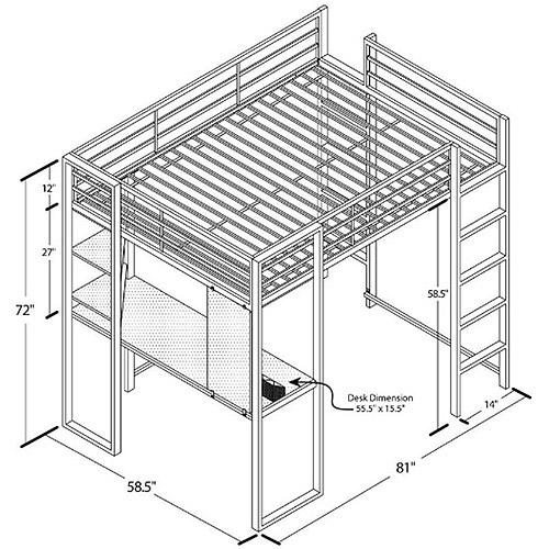 Dorel Dhp Full Metal Loft Bed Over Workstation Desk