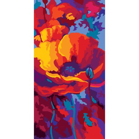 Collection D'Art Needlepoint Printed Tapestry Canvas, 60cm x 30cm, Poppy