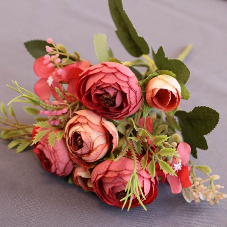 New Rise - New Artificial Flowers Silk Fake Tea Rose Floral Camellia for Wedding Party Home Decoration Bouquet
