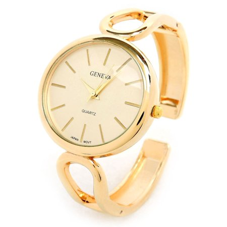 New Geneva Gold Metal Loop Style Band Oval Face Women's Bangle Cuff Watch - Gold Plated Geneva Series