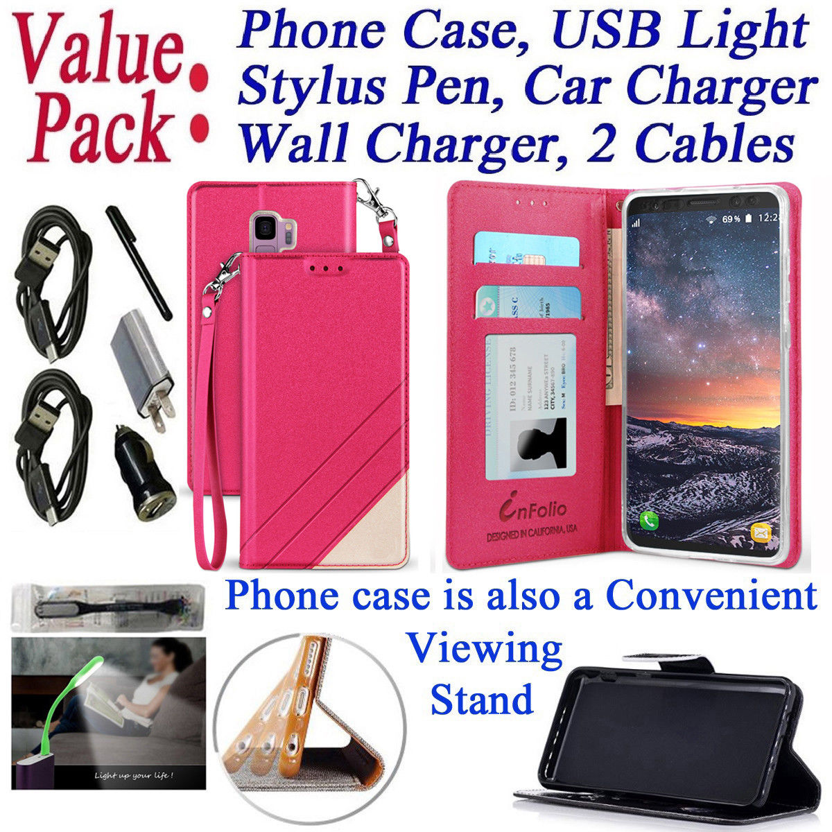 """Value Pack + for 5.8"""" Samsung S9 Galaxy S 9 Case Wallet Phone Case Kick Stand Hybrid Pouch Pocket Purse Mosaic Grip Texture Screen Flip Cover Pink Rose"""