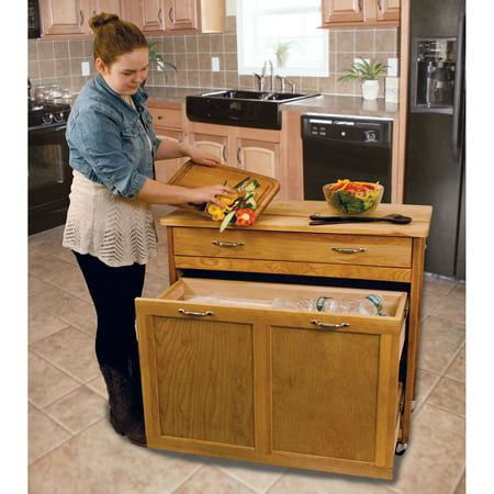 Catskill Craftsmen Kitchen Kitchen Cart - Catskill Craftsmen Rolling Recycling/Trash Storage Kitchen Island