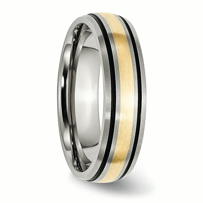 Titanium Grooved 14k Yellow Inlay 6mm Brushed Wedding Ring Band Size 11.50 Precious Metal Fine Jewelry Gifts For Women For Her - image 1 of 6