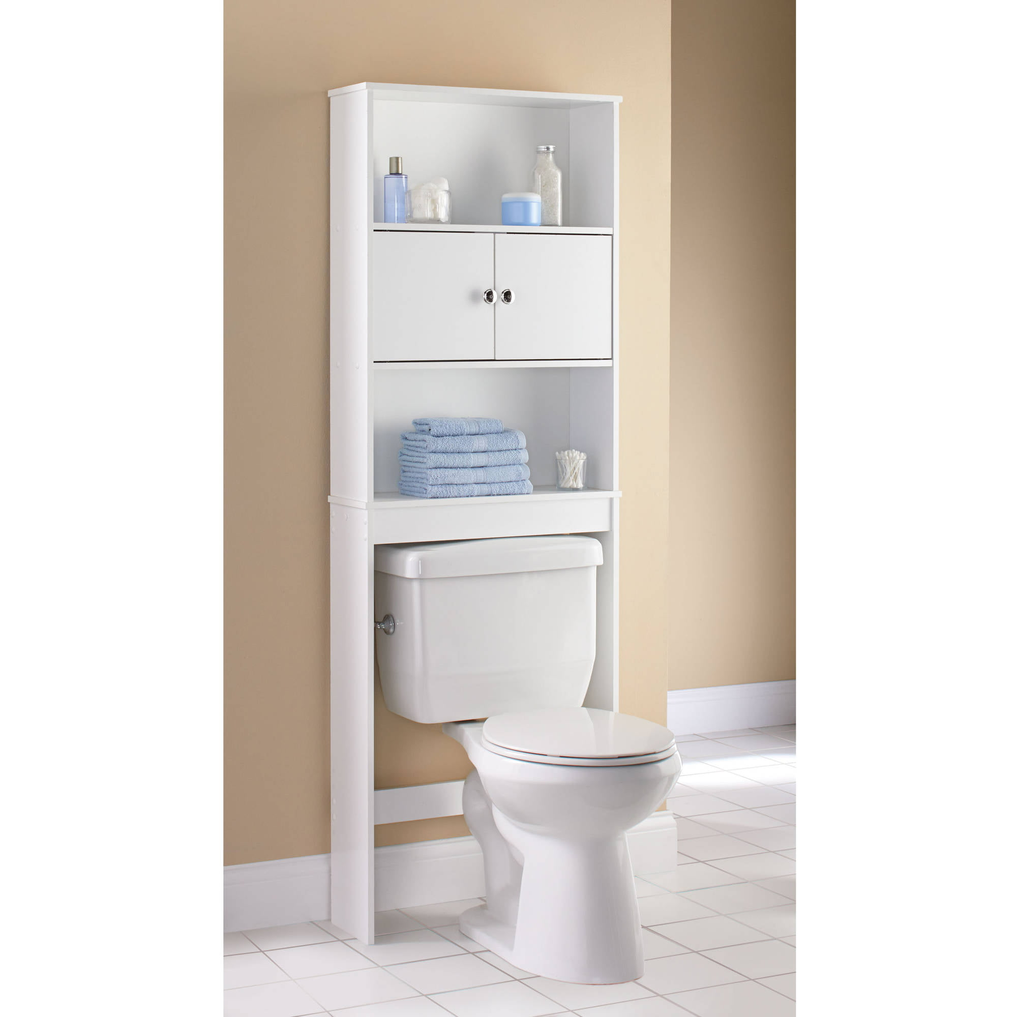 White shelves bathroom - Mainstays Wood Spacesaver White