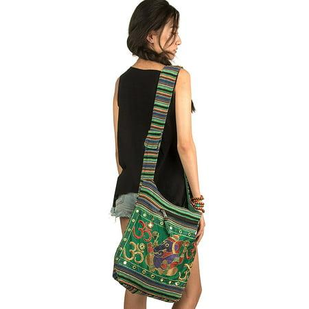 TribeAzure Elephant Hobo Shoulder Bag Cotton Sling Crossbody Handbag Boho Hippie Books Market Spacious Colorful Roomy Casual Green ()